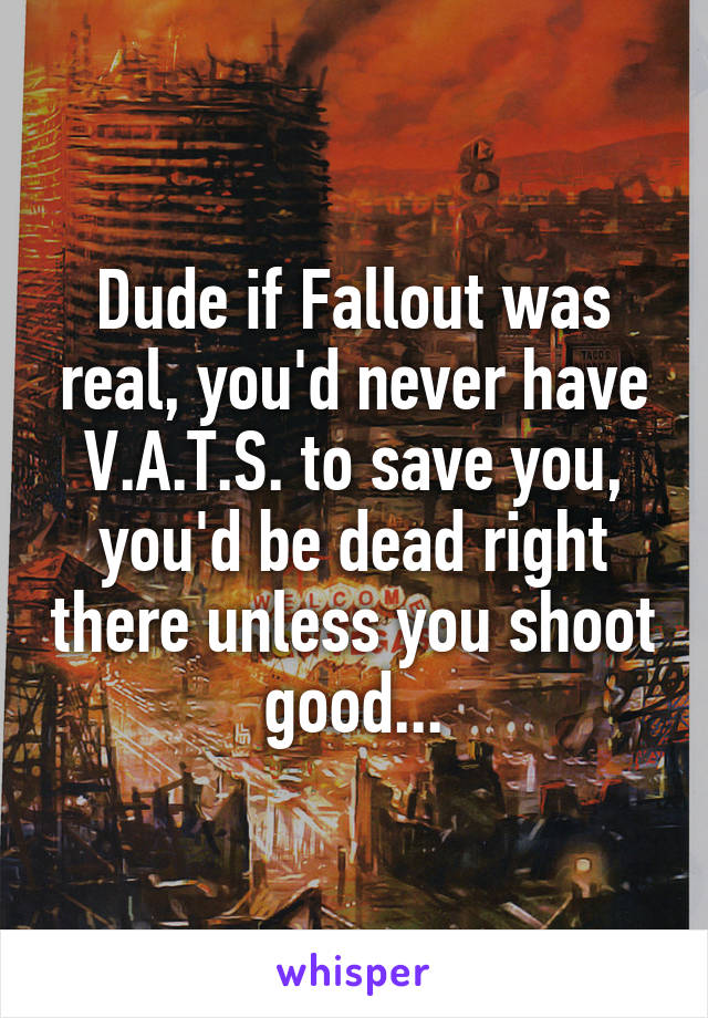 Dude if Fallout was real, you'd never have V.A.T.S. to save you, you'd be dead right there unless you shoot good...