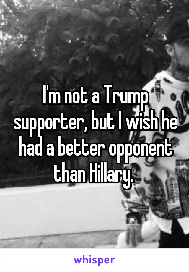 I'm not a Trump supporter, but I wish he had a better opponent than Hillary.