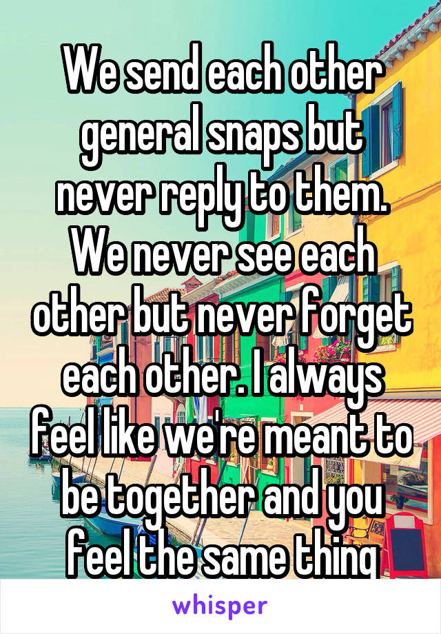 We send each other general snaps but never reply to them. We never see each other but never forget each other. I always feel like we're meant to be together and you feel the same thing