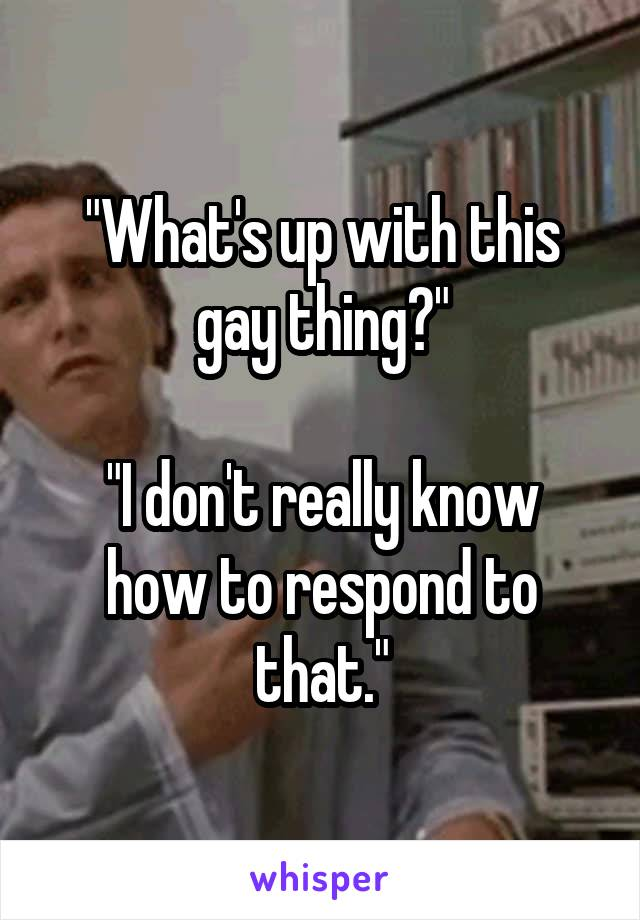 """""""What's up with this gay thing?""""  """"I don't really know how to respond to that."""""""