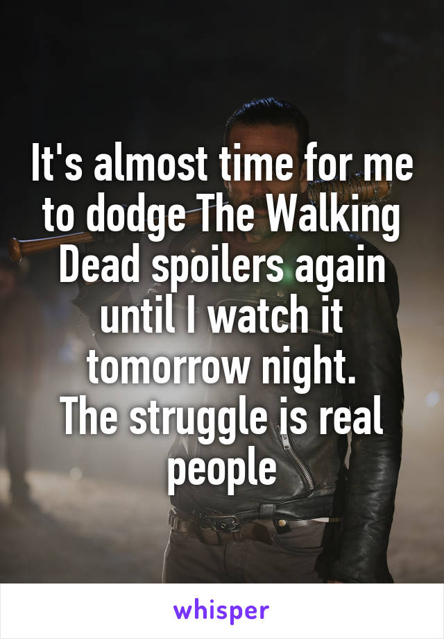 It's almost time for me to dodge The Walking Dead spoilers again until I watch it tomorrow night. The struggle is real people