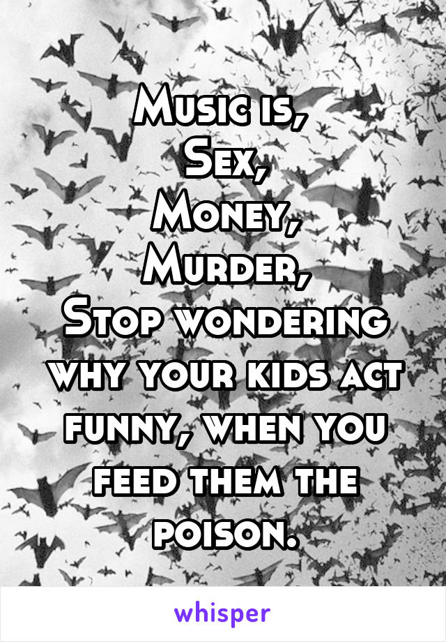 Music is,  Sex, Money, Murder, Stop wondering why your kids act funny, when you feed them the poison.