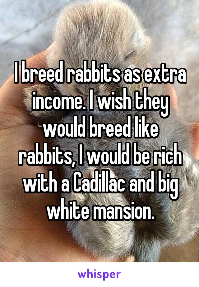 I breed rabbits as extra income. I wish they would breed like rabbits, I would be rich with a Cadillac and big white mansion.