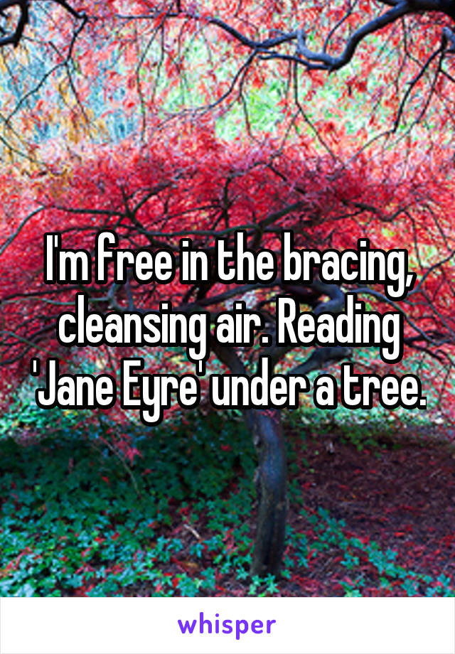 I'm free in the bracing, cleansing air. Reading 'Jane Eyre' under a tree.