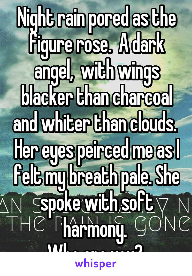 Night rain pored as the figure rose.  A dark angel,  with wings blacker than charcoal and whiter than clouds.  Her eyes peirced me as I felt my breath pale. She spoke with soft harmony.  Who are you?