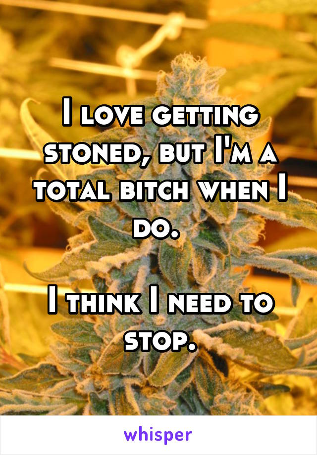 I love getting stoned, but I'm a total bitch when I do.   I think I need to stop.