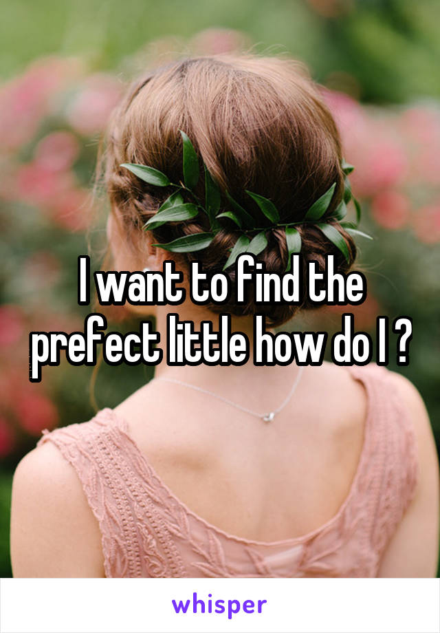 I want to find the prefect little how do I ?
