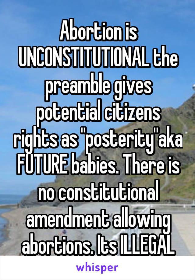 """Abortion is UNCONSTITUTIONAL the preamble gives potential citizens rights as """"posterity""""aka FUTURE babies. There is no constitutional amendment allowing abortions. Its ILLEGAL"""