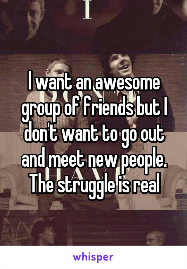 I want an awesome group of friends but I don't want to go out and meet new people. The struggle is real