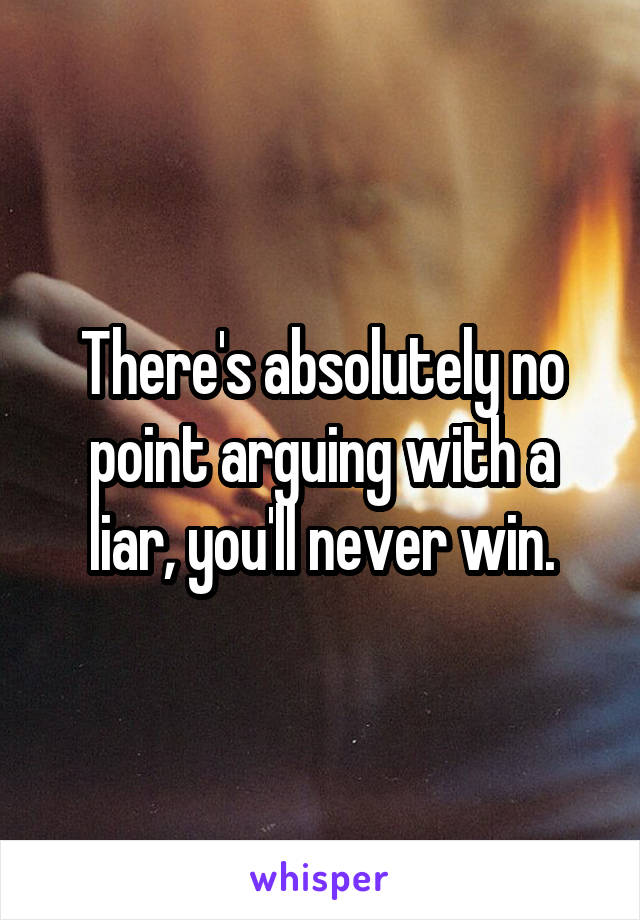 There's absolutely no point arguing with a liar, you'll never win.