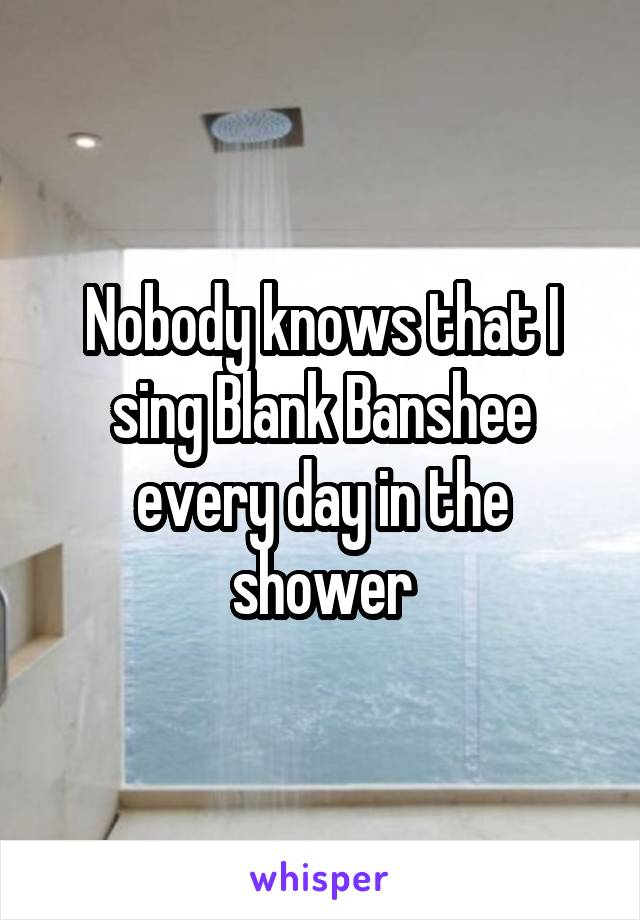 Nobody knows that I sing Blank Banshee every day in the shower