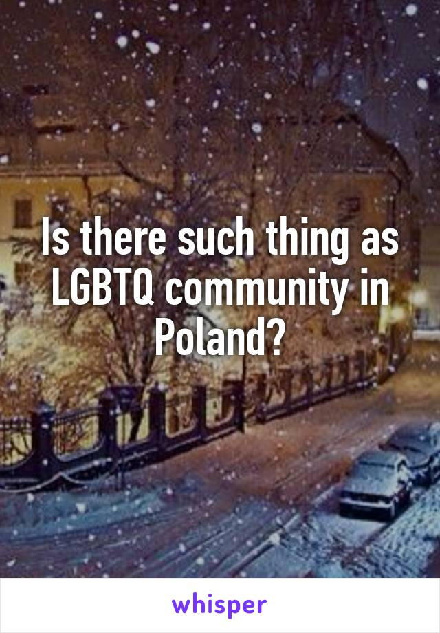 Is there such thing as LGBTQ community in Poland?