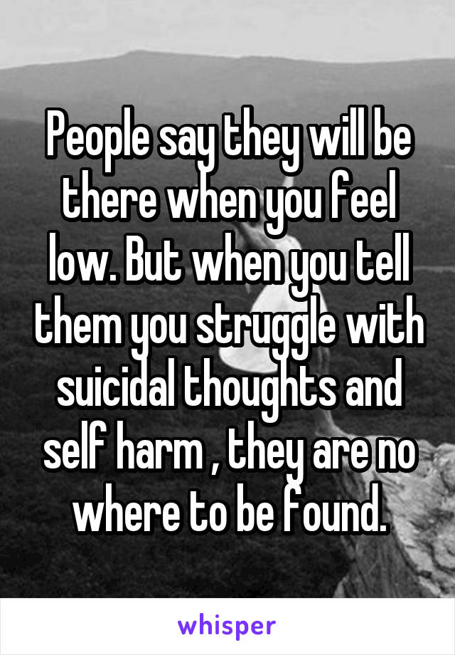 People say they will be there when you feel low. But when you tell them you struggle with suicidal thoughts and self harm , they are no where to be found.