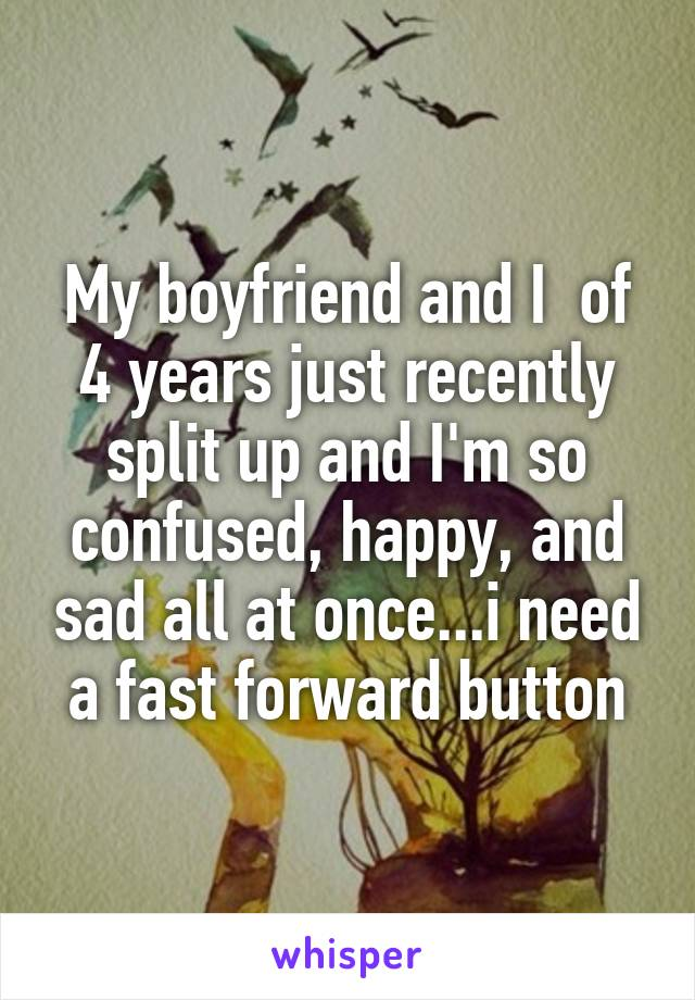 My boyfriend and I  of 4 years just recently split up and I'm so confused, happy, and sad all at once...i need a fast forward button