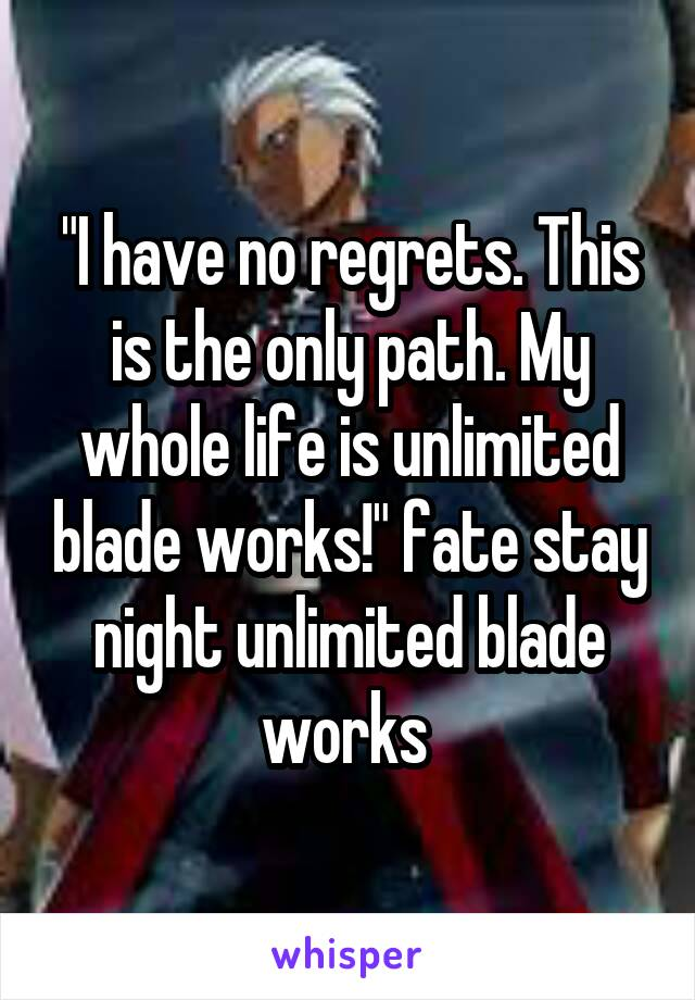 """""""I have no regrets. This is the only path. My whole life is unlimited blade works!"""" fate stay night unlimited blade works"""