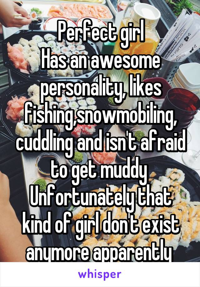Perfect girl Has an awesome personality, likes fishing,snowmobiling, cuddling and isn't afraid to get muddy  Unfortunately that kind of girl don't exist anymore apparently
