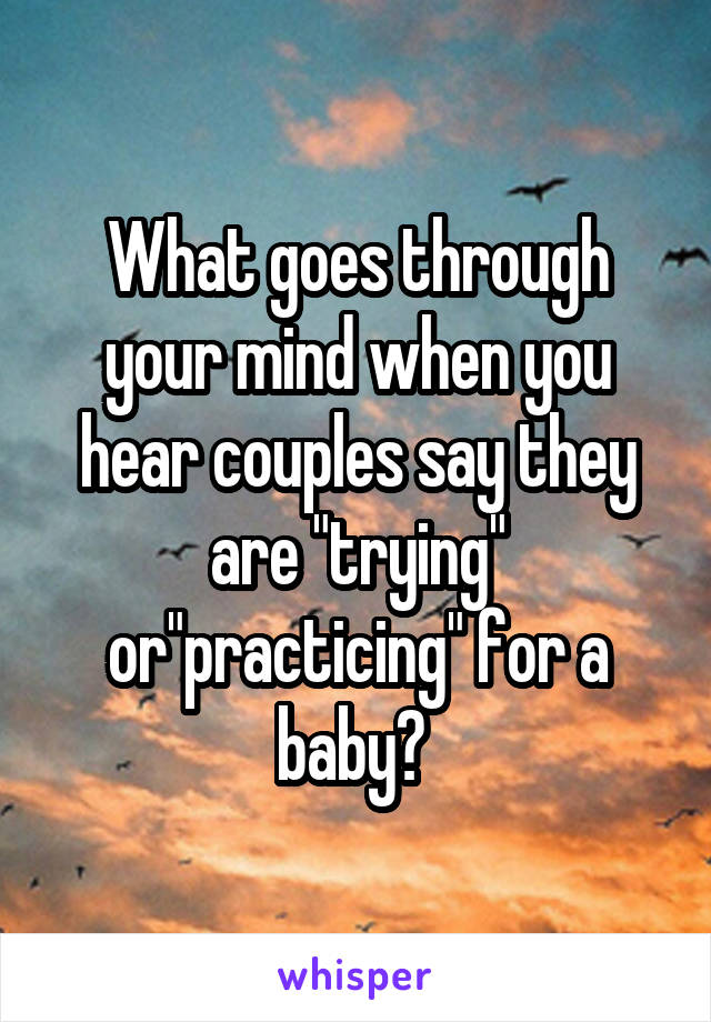 "What goes through your mind when you hear couples say they are ""trying"" or""practicing"" for a baby?"