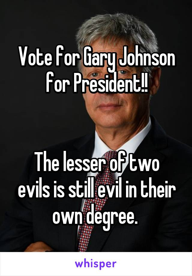 Vote for Gary Johnson for President!!   The lesser of two evils is still evil in their own degree.