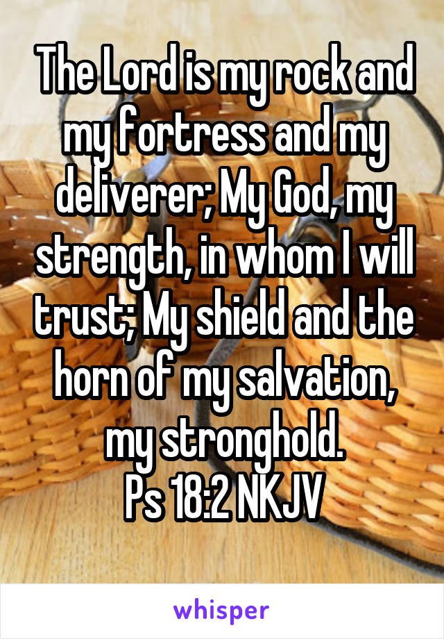 The Lord is my rock and my fortress and my deliverer; My God, my strength, in whom I will trust; My shield and the horn of my salvation, my stronghold. Ps 18:2 NKJV