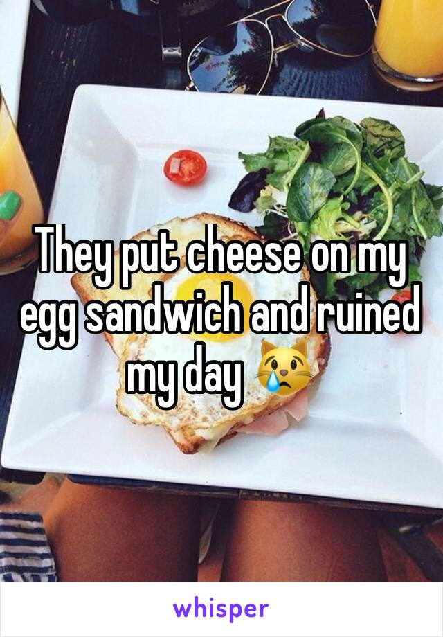 They put cheese on my egg sandwich and ruined my day 😿