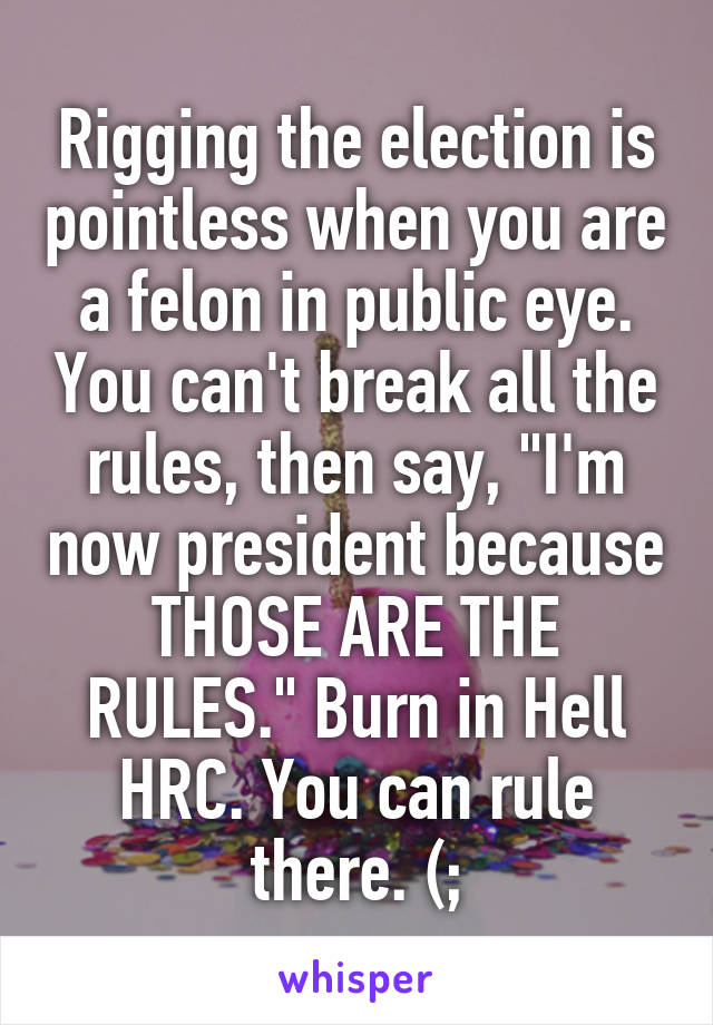 """Rigging the election is pointless when you are a felon in public eye. You can't break all the rules, then say, """"I'm now president because THOSE ARE THE RULES."""" Burn in Hell HRC. You can rule there. (;"""