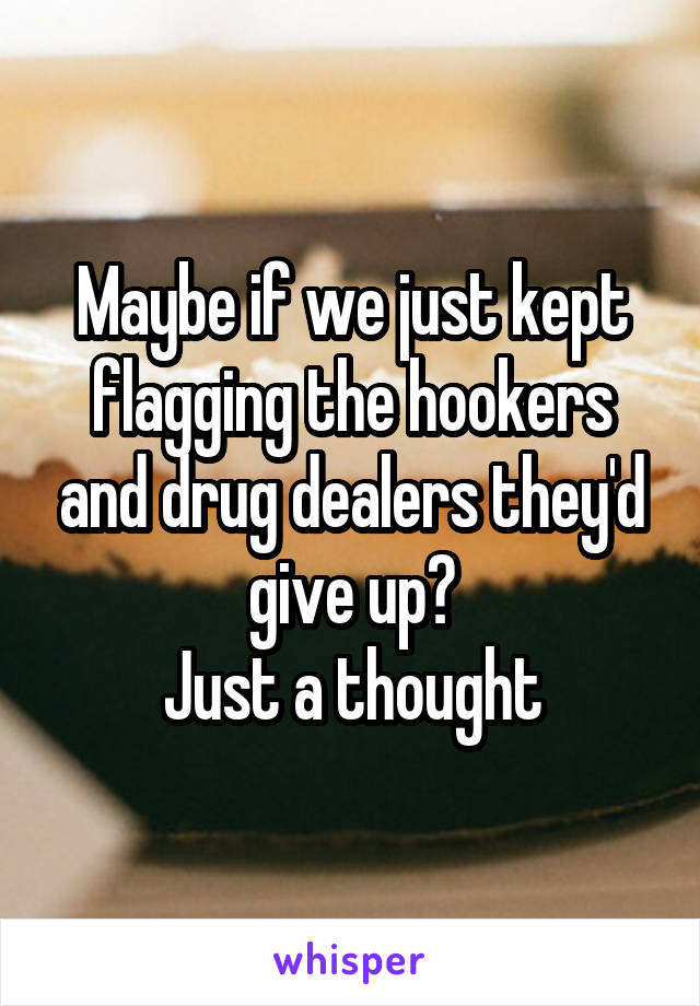 Maybe if we just kept flagging the hookers and drug dealers they'd give up? Just a thought