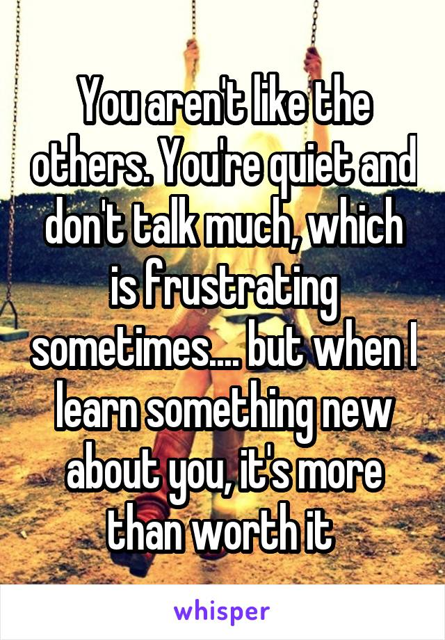 You aren't like the others. You're quiet and don't talk much, which is frustrating sometimes.... but when I learn something new about you, it's more than worth it