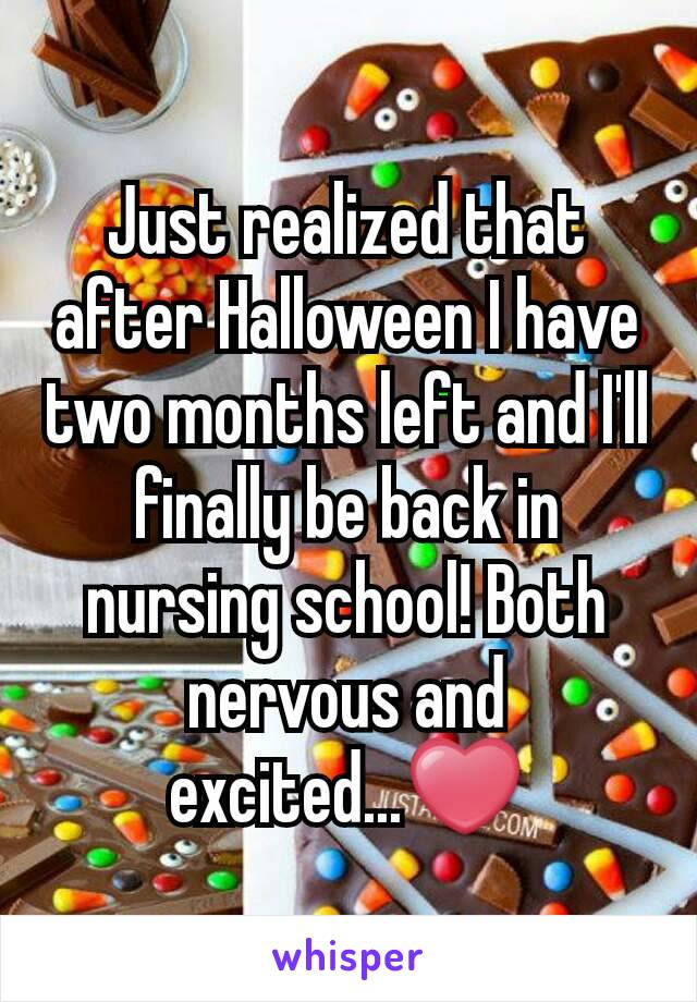 Just realized that after Halloween I have two months left and I'll finally be back in nursing school! Both nervous and excited...❤