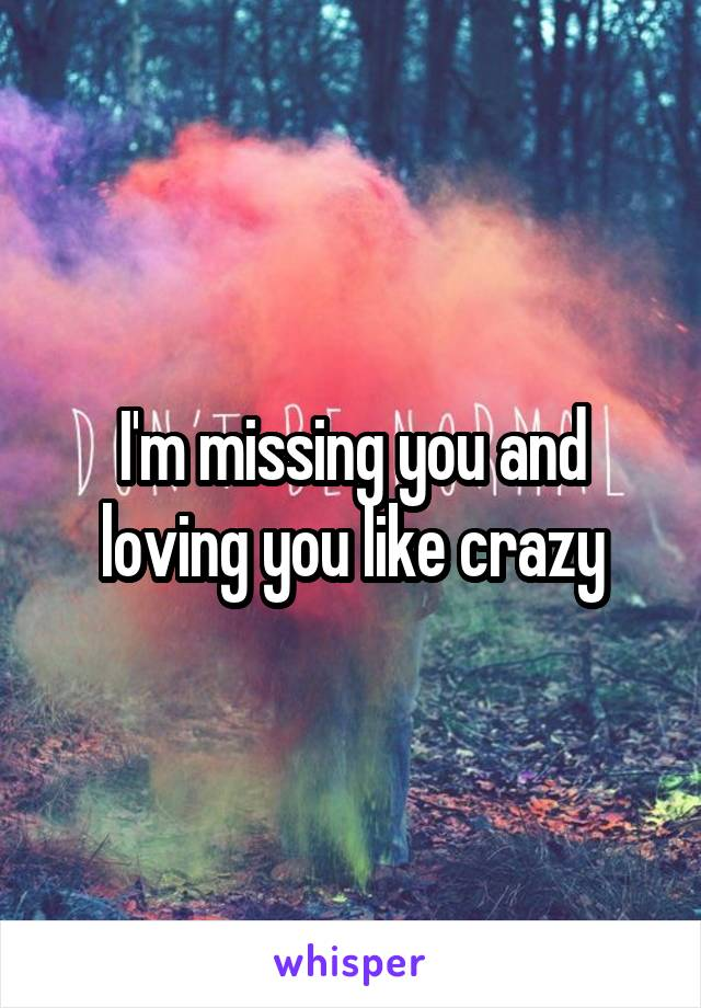 I'm missing you and loving you like crazy