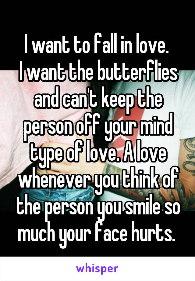 I want to fall in love.  I want the butterflies and can't keep the person off your mind type of love. A love whenever you think of the person you smile so much your face hurts.