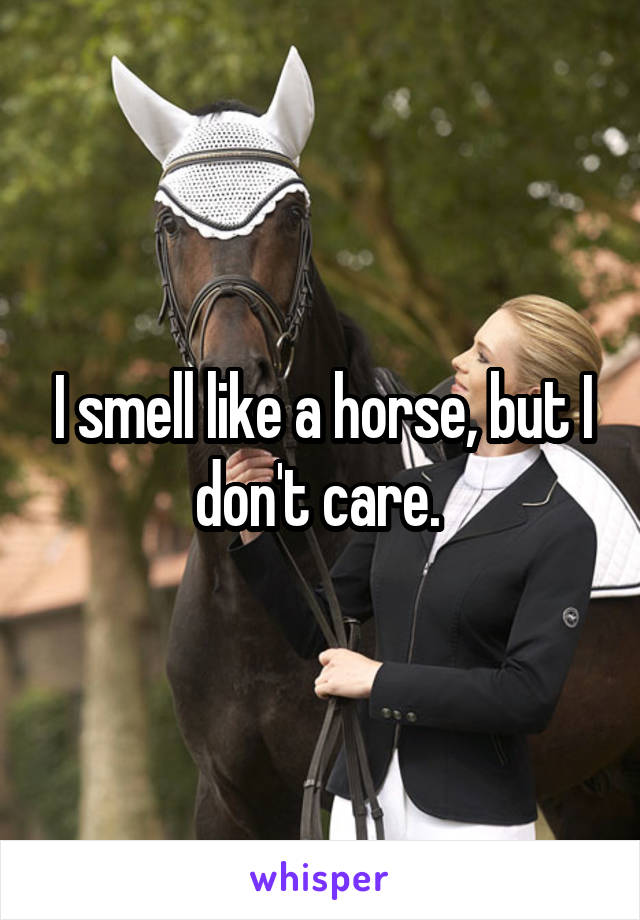 I smell like a horse, but I don't care.