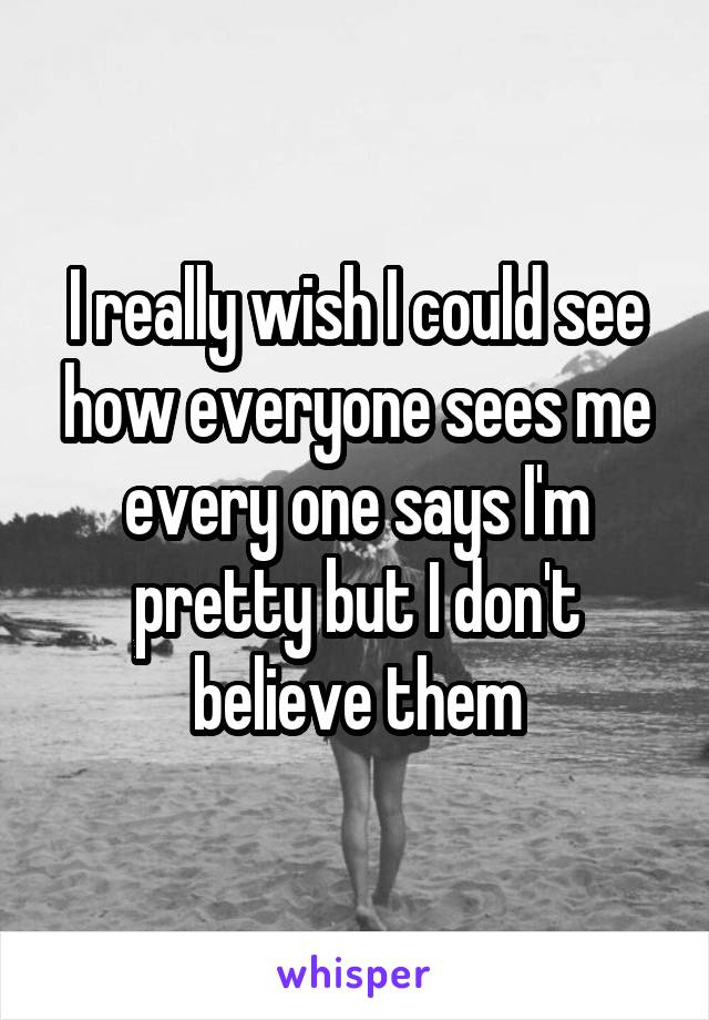 I really wish I could see how everyone sees me every one says I'm pretty but I don't believe them