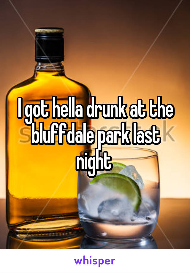 I got hella drunk at the bluffdale park last night