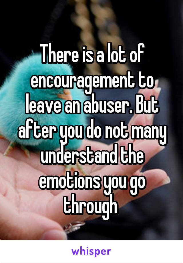 There is a lot of encouragement to leave an abuser. But after you do not many understand the emotions you go through