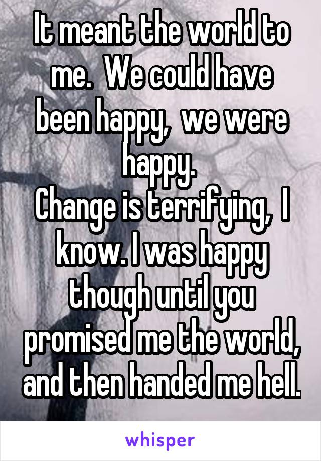 It meant the world to me.  We could have been happy,  we were happy.  Change is terrifying,  I know. I was happy though until you promised me the world, and then handed me hell.