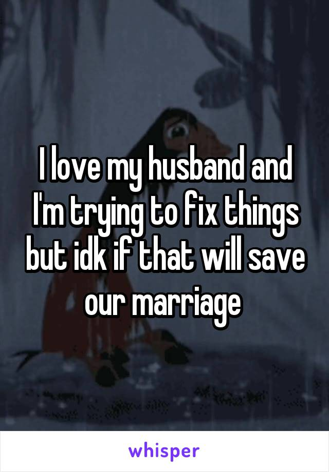 I love my husband and I'm trying to fix things but idk if that will save our marriage