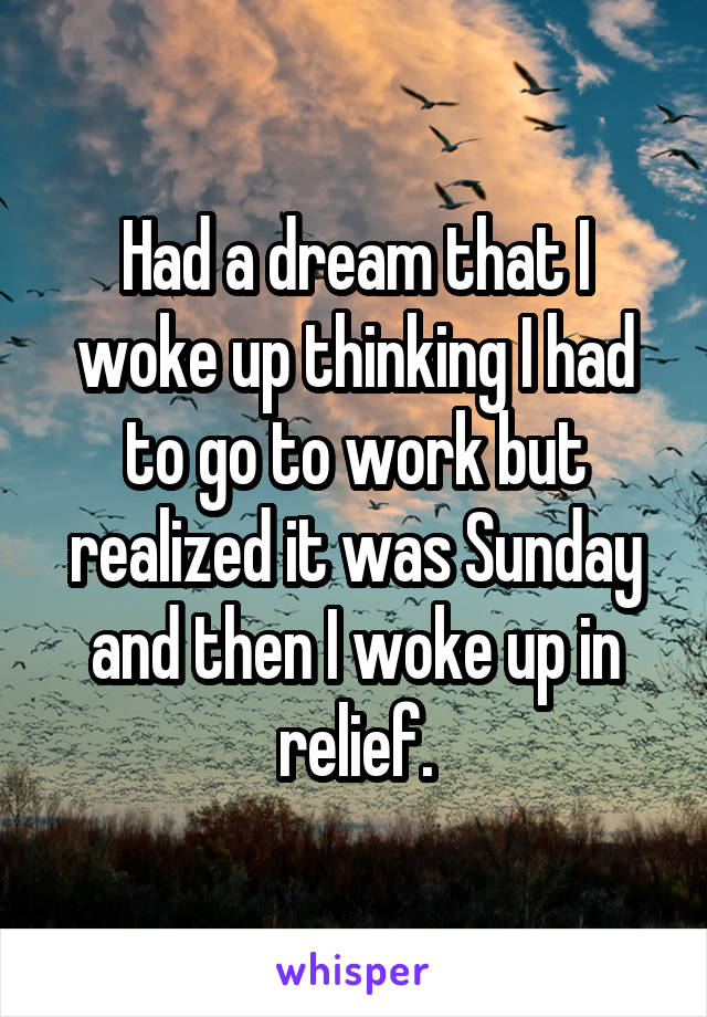 Had a dream that I woke up thinking I had to go to work but realized it was Sunday and then I woke up in relief.