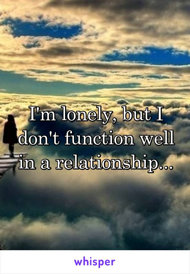 I'm lonely, but I don't function well in a relationship...