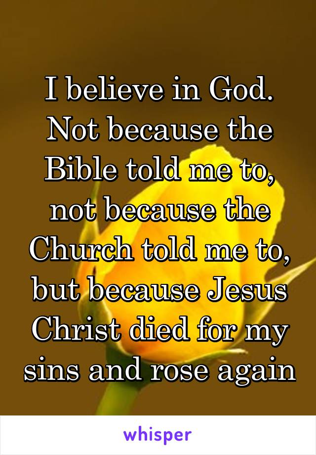 I believe in God. Not because the Bible told me to, not because the Church told me to, but because Jesus Christ died for my sins and rose again