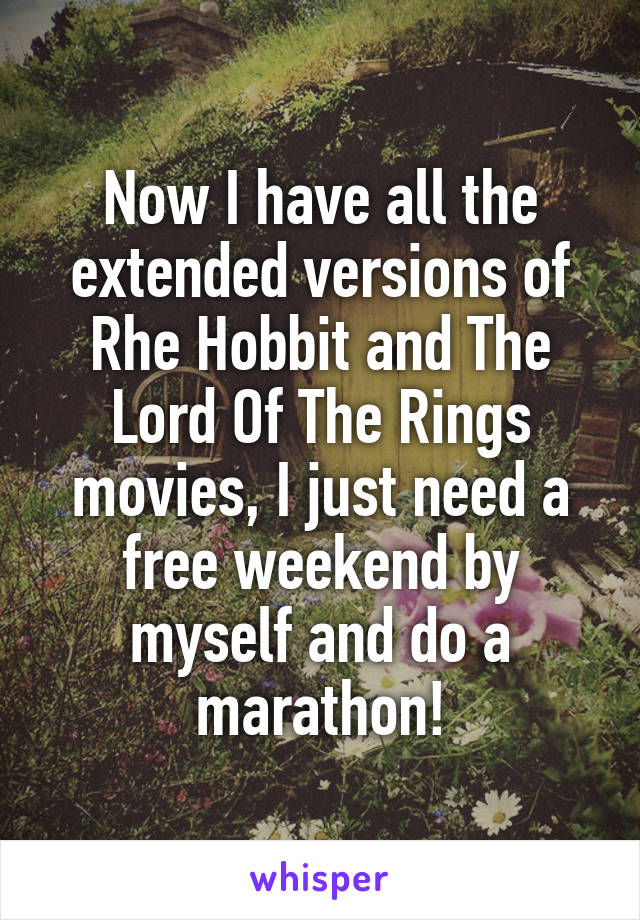 Now I have all the extended versions of Rhe Hobbit and The Lord Of The Rings movies, I just need a free weekend by myself and do a marathon!