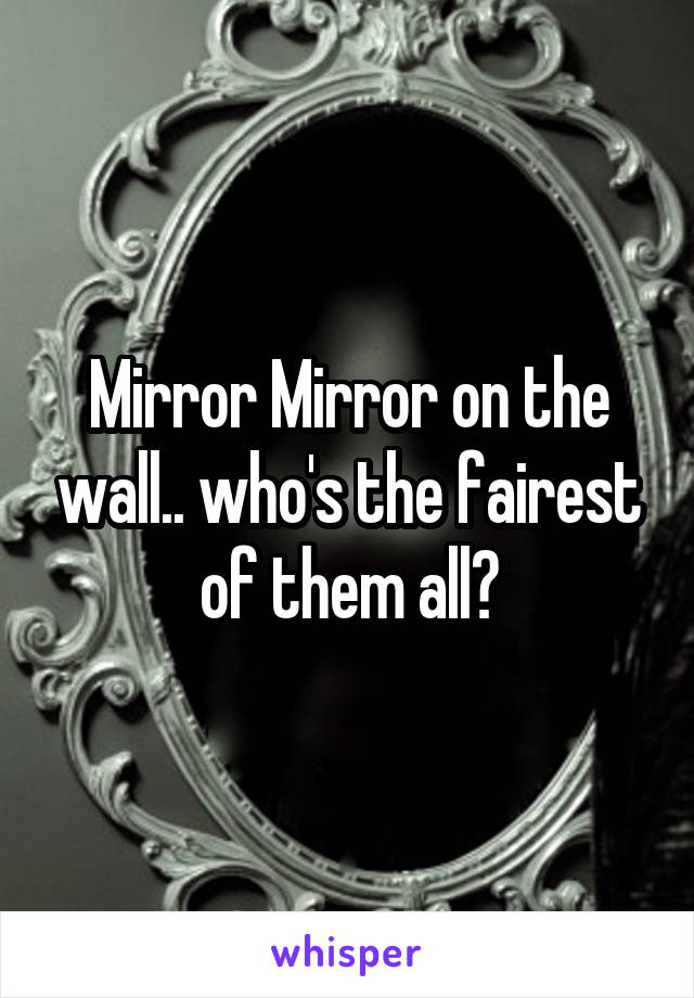 Mirror Mirror on the wall.. who's the fairest of them all?