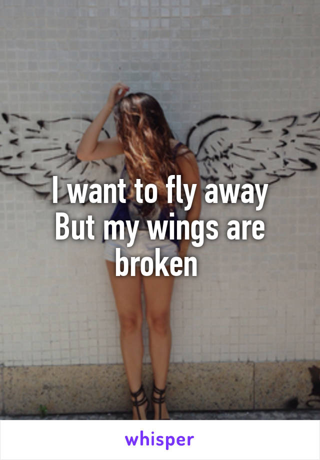 I want to fly away But my wings are broken