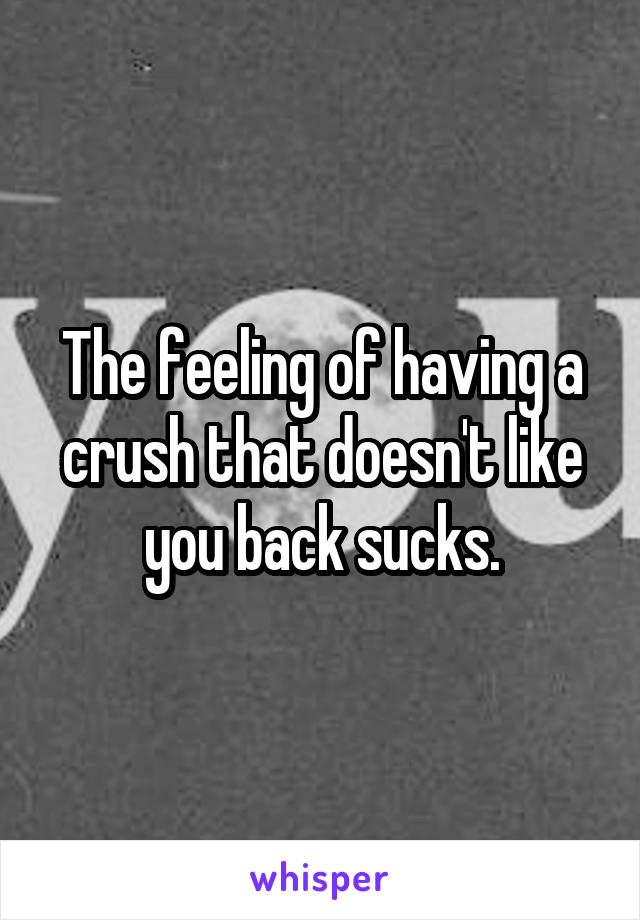 The feeling of having a crush that doesn't like you back sucks.