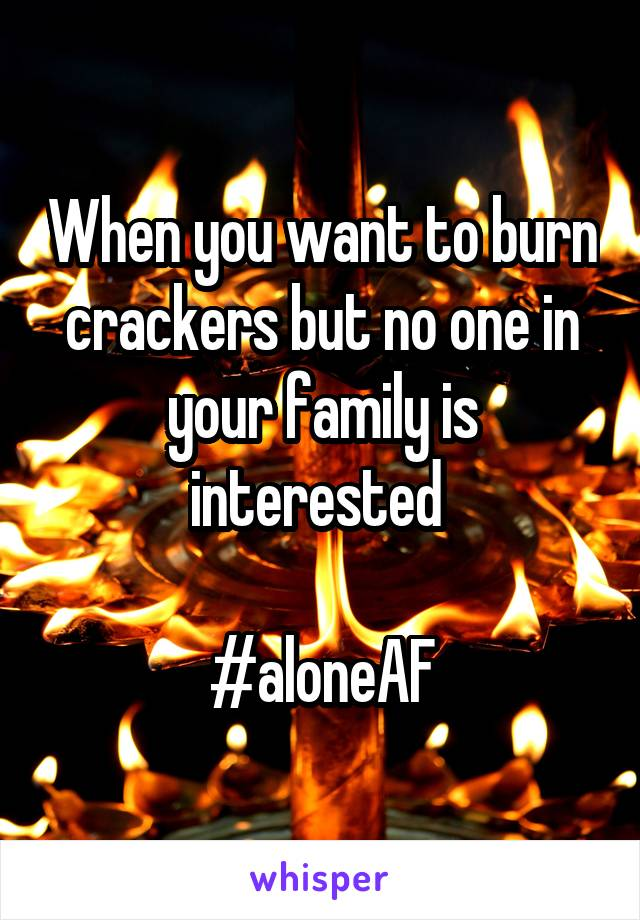When you want to burn crackers but no one in your family is interested   #aloneAF