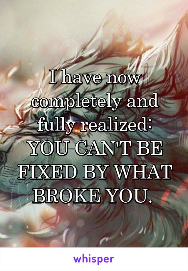 I have now completely and fully realized: YOU CAN'T BE FIXED BY WHAT BROKE YOU.
