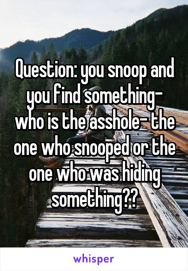 Question: you snoop and you find something- who is the asshole- the one who snooped or the one who was hiding something??
