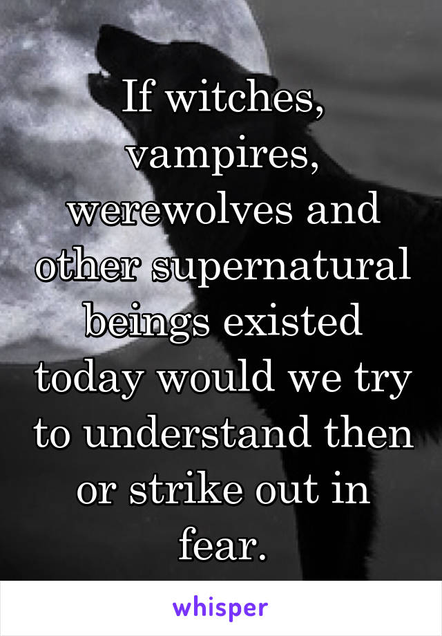 If witches, vampires, werewolves and other supernatural beings existed today would we try to understand then or strike out in fear.