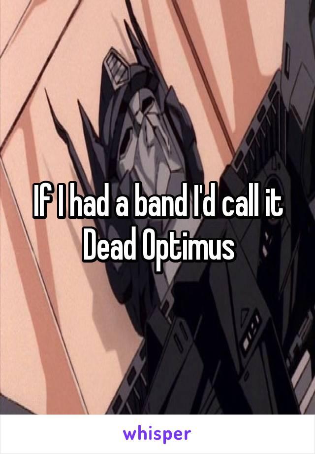 If I had a band I'd call it Dead Optimus