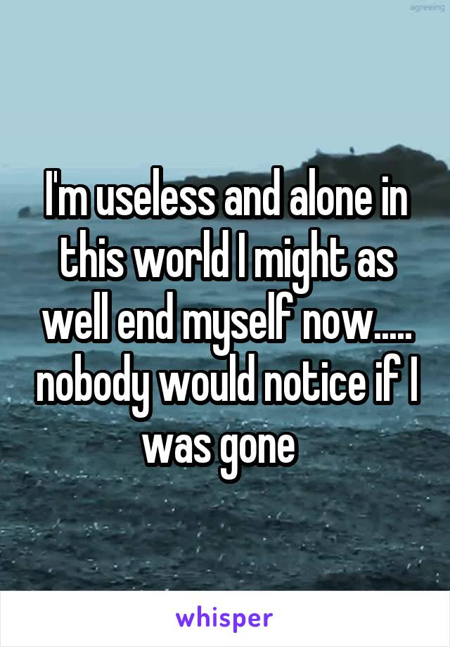 I'm useless and alone in this world I might as well end myself now..... nobody would notice if I was gone