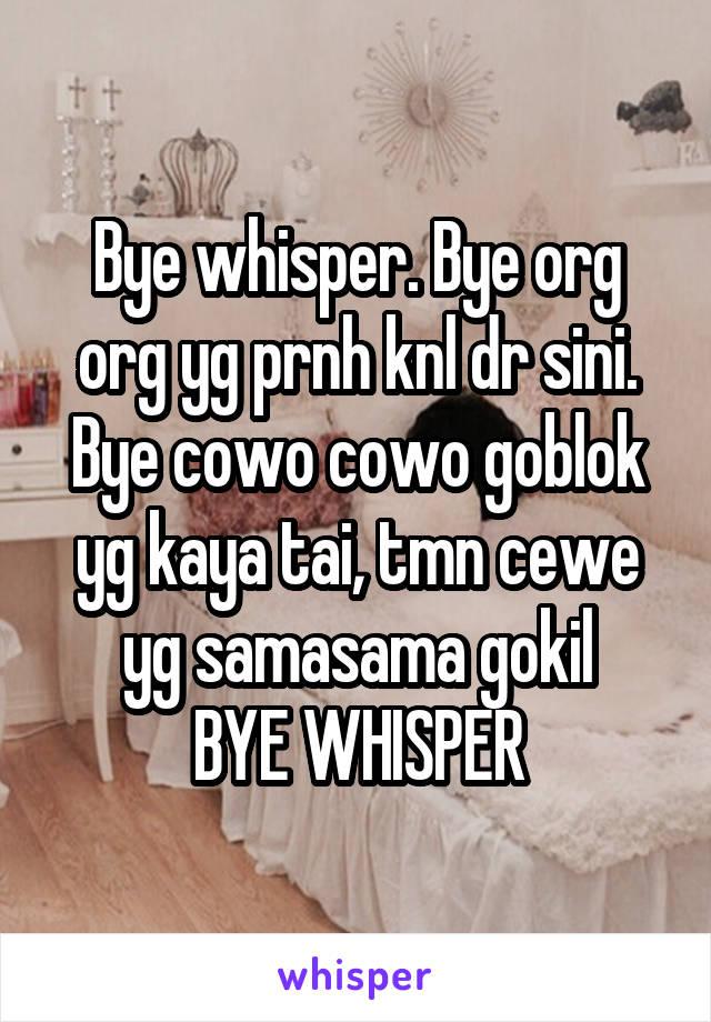 Bye whisper. Bye org org yg prnh knl dr sini. Bye cowo cowo goblok yg kaya tai, tmn cewe yg samasama gokil BYE WHISPER